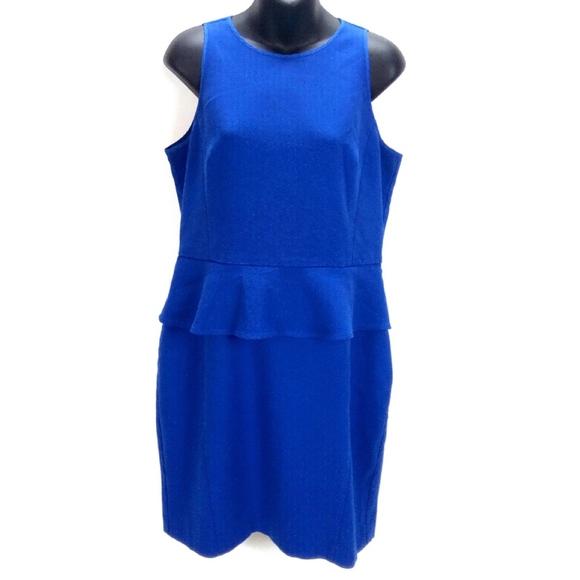 LOFT Dresses & Skirts - Ann Taylor Loft Blue Peplum Sheath Party Dress 12